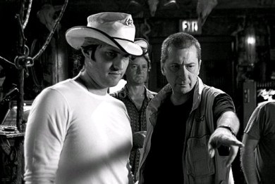 Miller y Rodriguez en el rodaje de Sin City