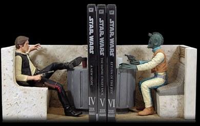 Sujetalibros de Han Solo y Greedo
