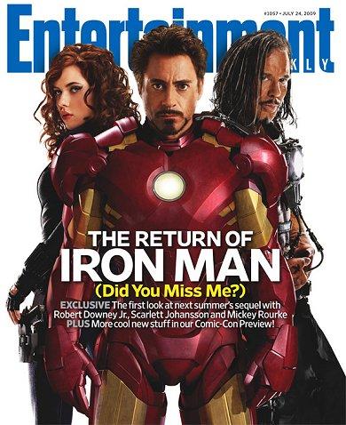 Scarlett Johansson, Robert Downey Jr. y Mickey Rourke en Iron Man 2
