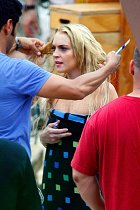 Lindsay Lohan en el set de Machete #2