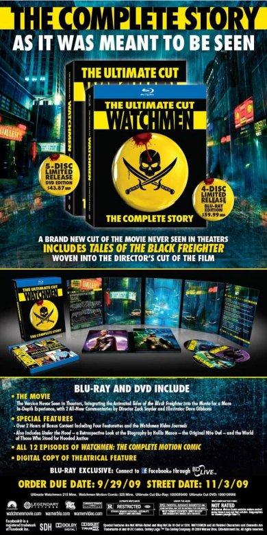 Publicidad del DVD de Watchmen: The Ultimate Cut