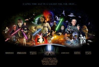 Cartel Star Wars con el diseño de las seis cintas