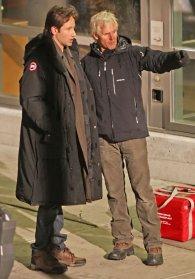 David Duchovny y Chris Carter en el rodaje de X-Files 2